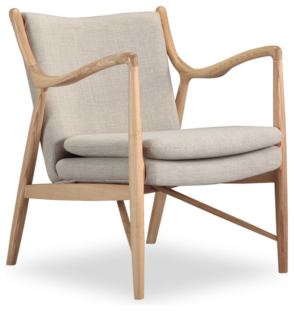 Copenhagen Midcentury Modern Twill Arm Chair, Urban Hemp