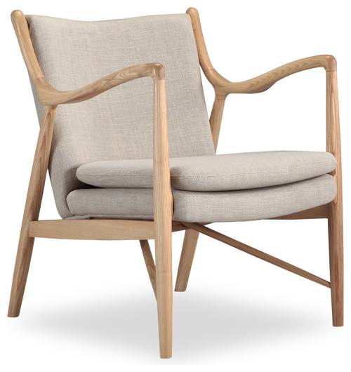 Copenhagen Midcentury Modern Twill Arm Chair, Urban Hemp