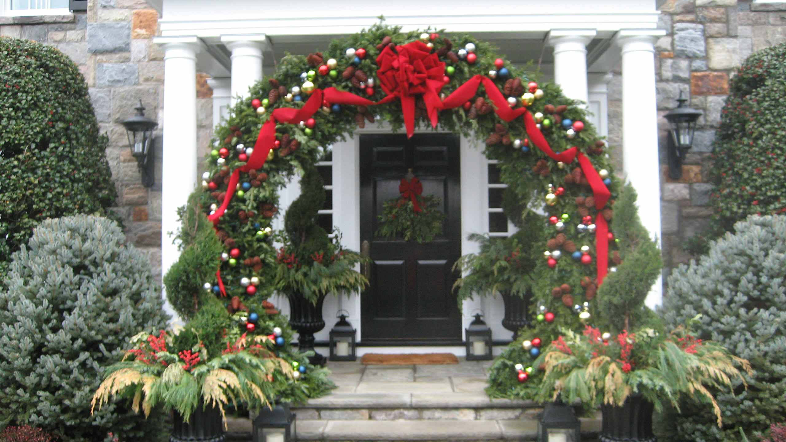 We built this Christmas wreath for a client  Christmas party in Fairfield Country. Each year we are hired to do another and they all are original works of art. PETER ATKINS AND ASSOCIATES, LLC