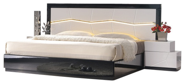 J M Turin Black White Lacquer Queen Size Bedroom Set With Accent Lighting Bedroom Furniture