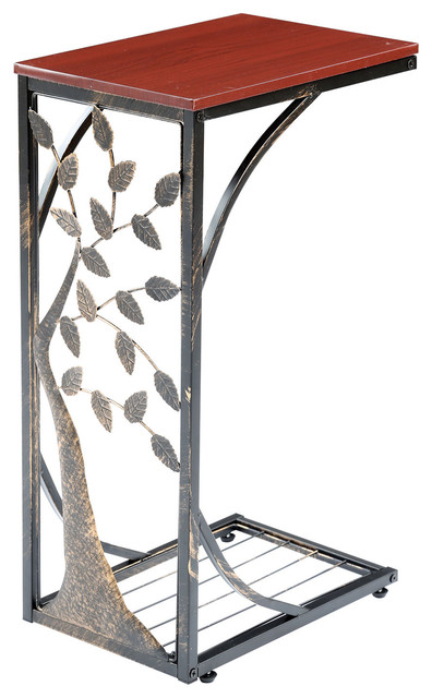 Sofa Side End Table Metal Tree Design With Wood Top C Shaped Tv Tray Transitional Tables And By Universal Direct Brands