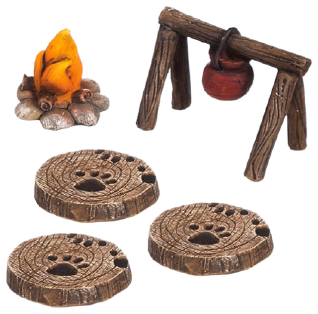 Miniature Fairy Garden Camping Garden Set, 5 Pieces  Rustic Decorative Objects And