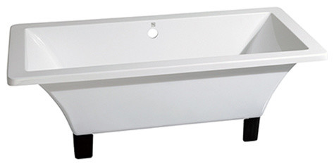 "71"" Acrylic Clawfoot Square Tub, Oil Rubbed Bronze, White/oil Rubbed Bronze."