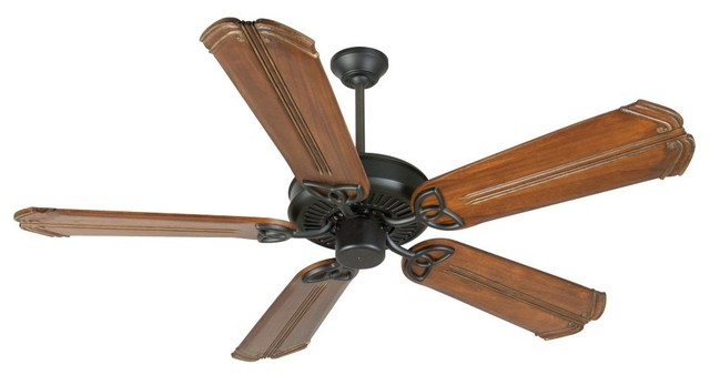 "Craftmade Cxl 56"" Flat Black Traditional Ceiling Fan With 5 Blades."