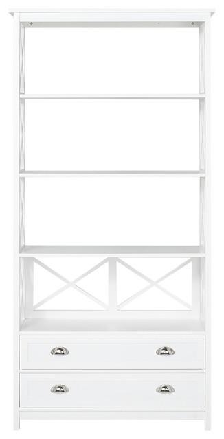 Mosi, Shelf With 4 Shelves, 2 Drawers, Metal Handles.