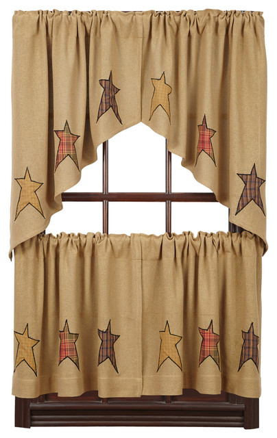 Stratton Burlap Applique Star L24xw36 Tier, Set Of 2.