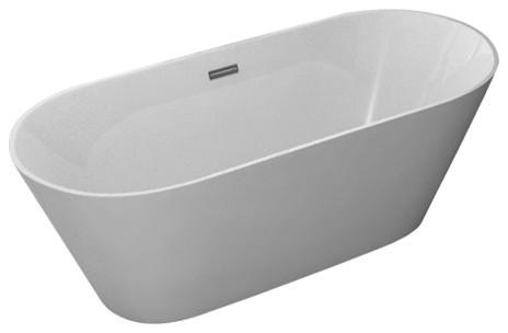 "Kokss Lugano Freestanding Modern Seamless Acrylic Bathtub, 60""."