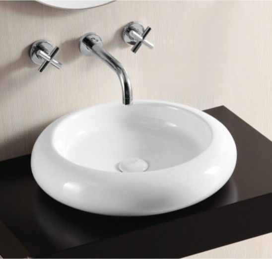 shallow white ceramic vessel bathroom sink by 14388