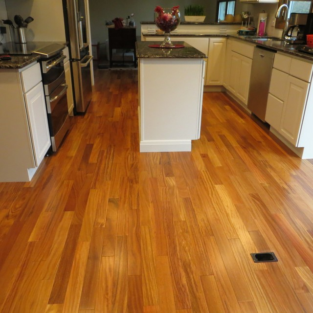 Hardwood Flooring Dealers Installers Brazilian Teak Aru Dark Modern Kitchen