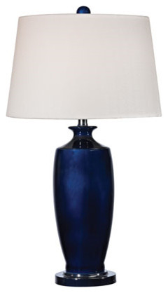 "Table Lamp 1-Light With Navy Blue With Black Nickel Ceramic Metal 27""."