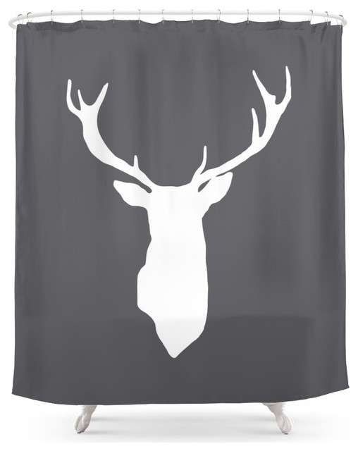 deer antlers shower curtain - rustic - shower curtains -society6