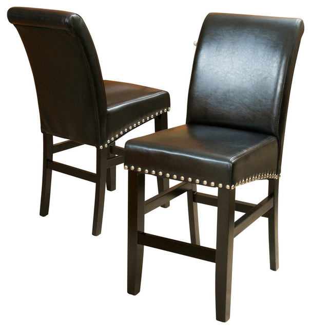 GDF Studio Clifton Black Leather Counter Stools, Set of 2