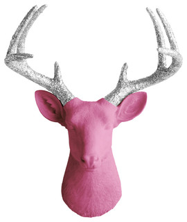 Wall Charmers Mounted Resin Deer Head, Fuchsia Pink and Glitter Silver