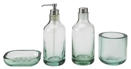 Seafoam Green glass bath set - Modern - Bathroom Accessories - Dallas