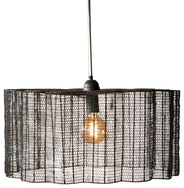 ModernIndustrial Pendant Light Black Wire Mesh Flower Shaped Cage Shade