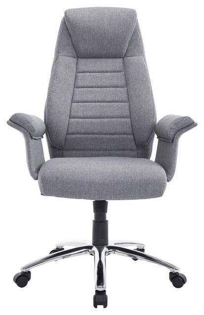 Homcom High Back Fabric Executive Office Chair Light Gray