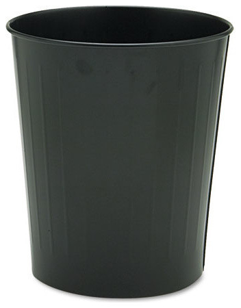 Round wastebasket steel 23 5 qt black contemporary wastebaskets by alliance supply - Modern wastebasket ...