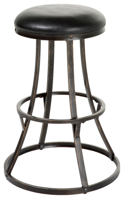 """Dover Swivel Bar Stool With Upholstered Seat, Black and Bronze, 30"""""""