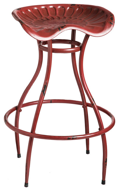 Evergreen Enterprises Red Metal Tractor Seat Stool