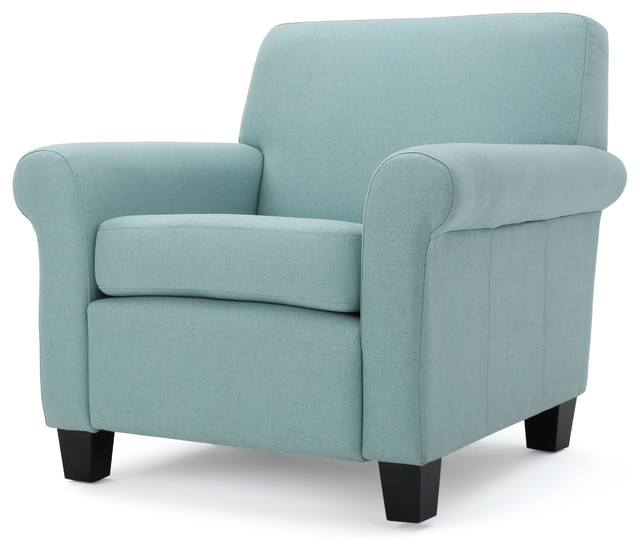Pinehurst Comfortable Fabric Club Chair, Light Blue.