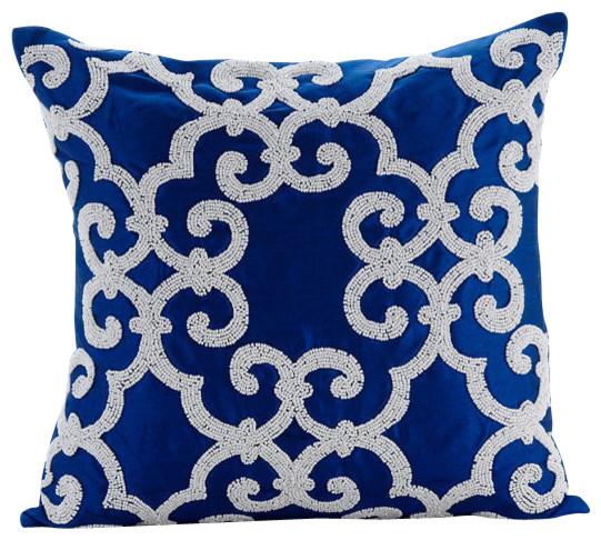 Arabic Pattern Blue Accent Pillows, Art Silk 16x16 Pillow Covers, Royal Arabic