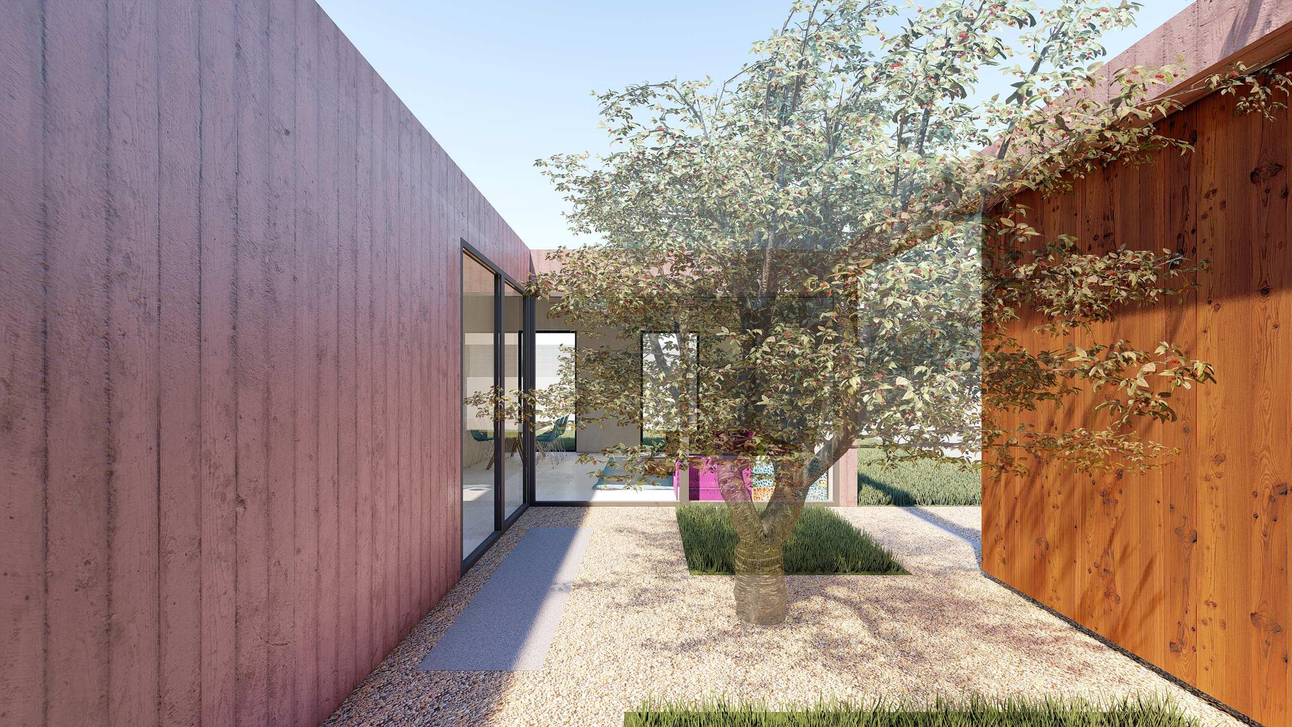 Vista del patio interior que conecta toda la vivienda
