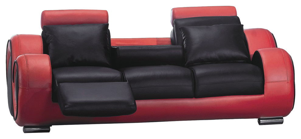 Contemporary Sofa, Black and Red
