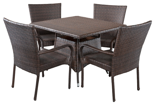 Kory Outdoor Multibrown Wicker Square Dining 5-Piece Set.