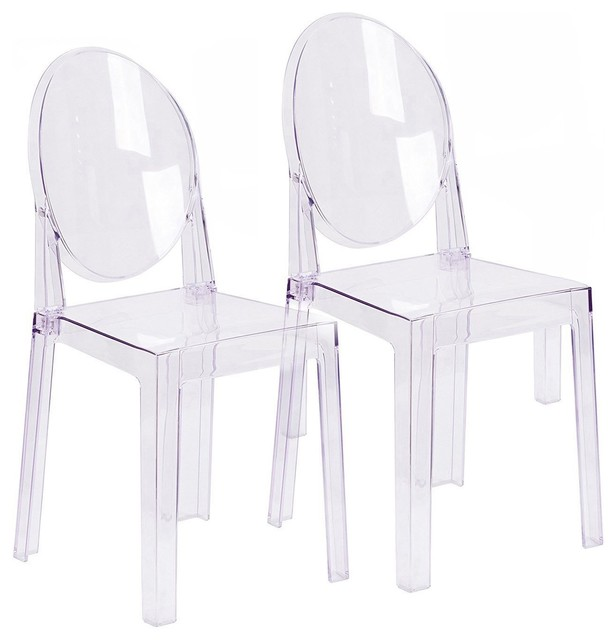 Enjoyable Large Modern Clear Plastic Side Chairs Set Of 2 Ocoug Best Dining Table And Chair Ideas Images Ocougorg