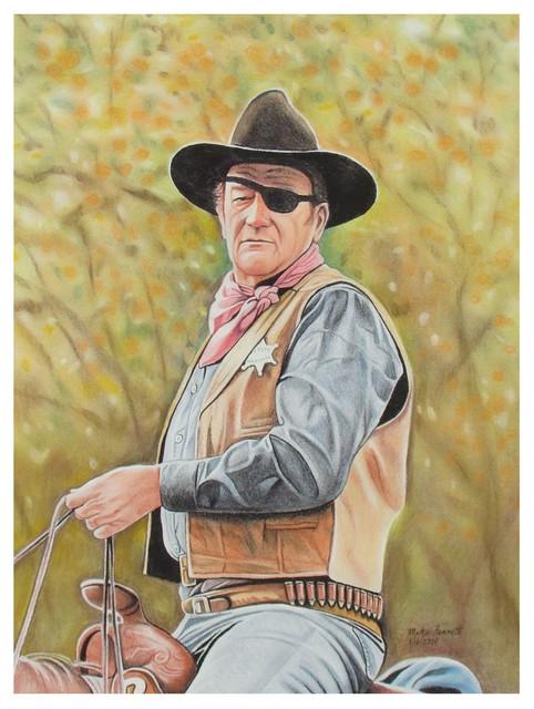 "Mike Bennett John Wayne - 2004 Art Print, 9""x12"""