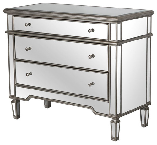 3-Drawer Mirrored Chest, Cary, Antique Pewter