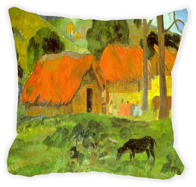 Paul Gauguin Le Trois Huttes Microfiber Throw Pillow