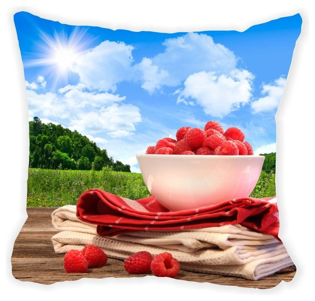 Summer Raspberry Picnic Microfiber Throw Pillow Contemporary Cool Raspberry Decorative Pillows