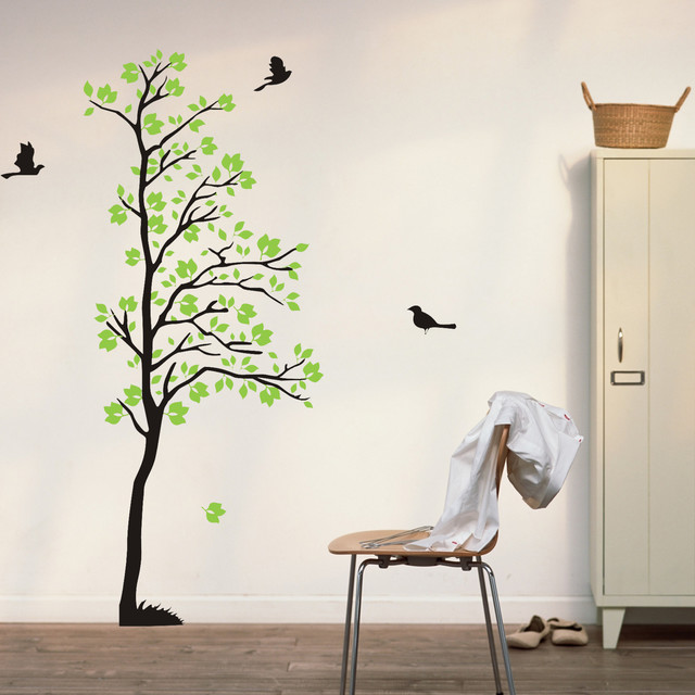 Wall Decals Tree Flying Birds Wall Art Green Leaves Nature Wall Decal  Living Roo Modern Part 4