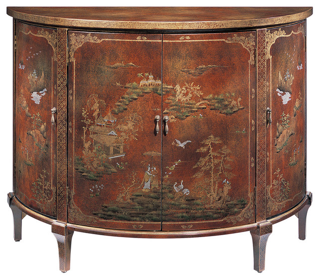 Demilune Chinoiserie Cabinet Asian Accent Chests And Cabinets