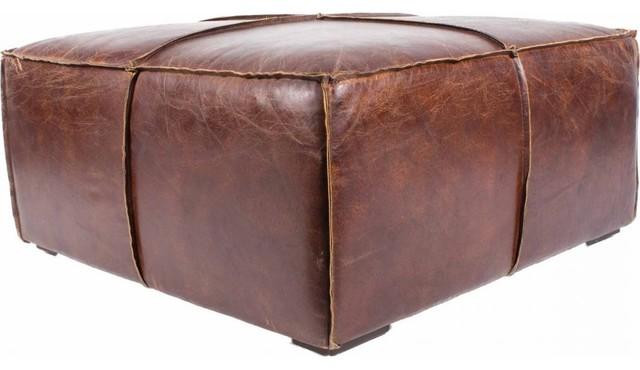 Distressed Leather Ottoman Coffee Table.34 5 W Coffee Table Ottoman Distressed Top Grain Leather Rough Edge Seams Oak