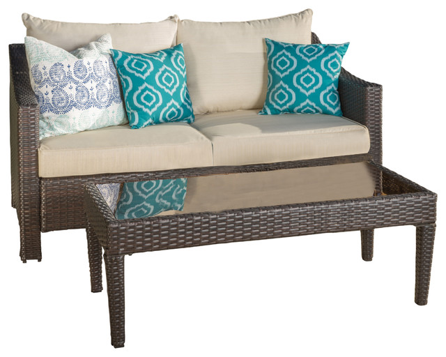 aspen outdoor wicker love seat and table set with cushions