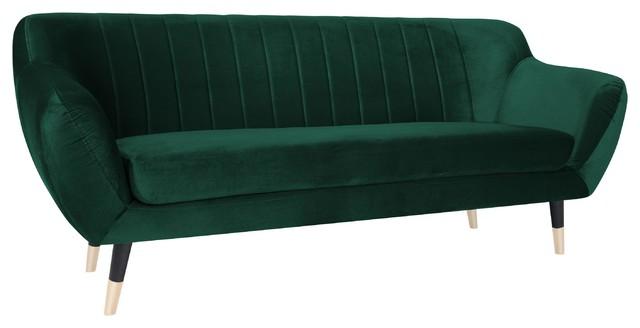 Levi 3-Seat Sofa With Black Legs, Bottle Green