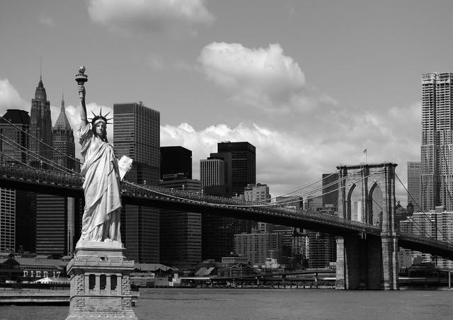 Statue Of Liberty New York Black White Wall Mural Non Woven Photo Wallpaper