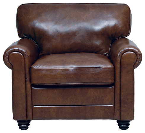 Genuine Italian Leather Chair In Havana Brown Traditional Armchairs And A
