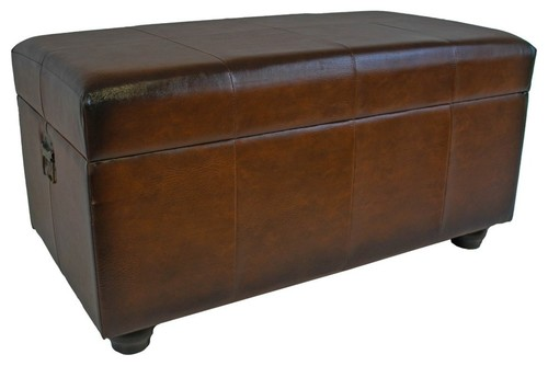 International Caravan Carmel Faux Leather Bench Trunk in Brown