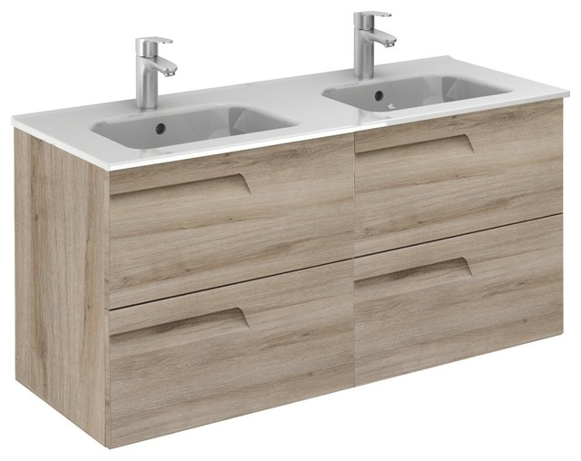 Vitale 48 Inches Wall Mounted Modern Bathroom Vanity 2 Drawer Natural With Basin Contemporary Bathroom Vanities And Sink Consoles By Bath4life