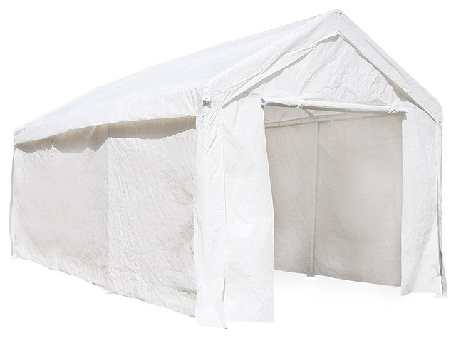 Aleko Cp1020wh Outdoor Gazebo Carport Canopy Tent With Sidewalls, White.