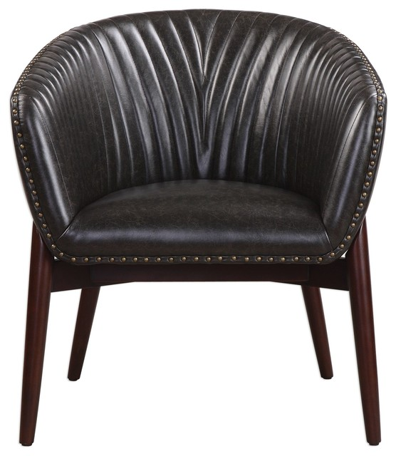 Miraculous Channel Stitched Black Faux Leather Barrel Round Chair Accent Nailhead Mincent Inzonedesignstudio Interior Chair Design Inzonedesignstudiocom