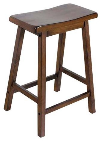 24 Counter Height Solid Wooden Saddle Seat Stools Set Of 2