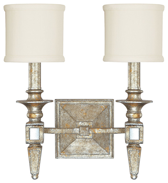 Bathroom Vanity Lights Gold : Capital Lighting 8482SG-535 Palazzo 2 Light Wall Sconce, Silver and Gold Leaf - Traditional ...