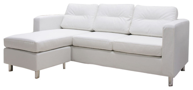Detroit Convertible Sectional Sofa And Ottoman Set White