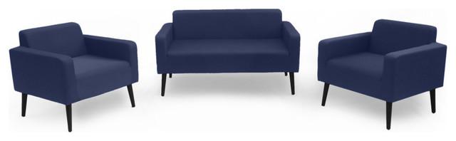 GDF Studio 3-Piece Doris Outdoor Upholstered Chat Set