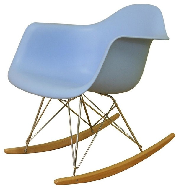 Baxton Studio Contemporary Blue Rocking Chair w Molded Seat