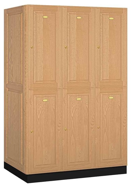 2-Tier Executive Locker In Light Solid Oak.